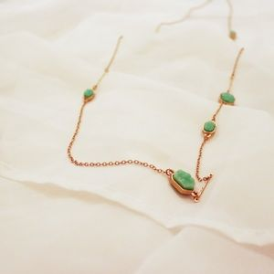 Long green jewel necklace
